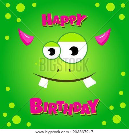 Monster party card design. Happy birthday card with green funny monster. Vector illustration
