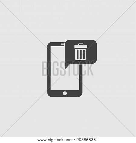 Smartphone with delete icon in a flat design in black color. Vector illustration eps10