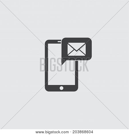 Smartphone with sms icon in a flat design in black color. Vector illustration eps10