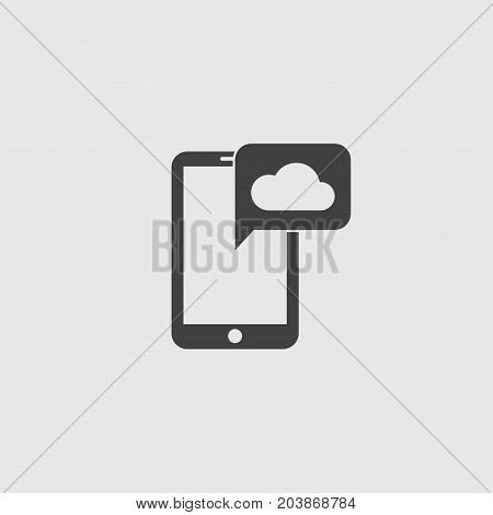 Smartphone with cloud icon in a flat design in black color. Vector illustration eps10