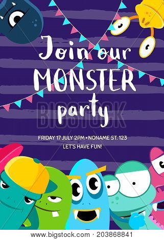 Vector monster party invitation poster with crowd of cute monsters and garlands on stripes background. Invitation to party with monsters illustration