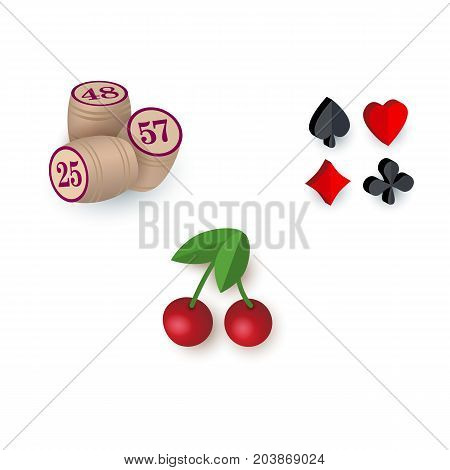 Set of casino, gambling symbols - playing card suits, bingo kegs and slot machine cherry sign, vector illustration isolated on white background. Set of gambling, casino symbols - suits, kegs, cherry