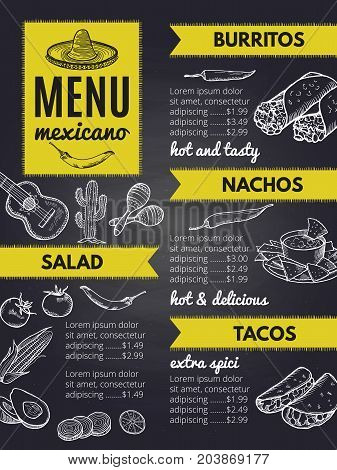Traditional mexican cuisine. Design template of restaurant menu mexican with burrito and nachos, vector illustration