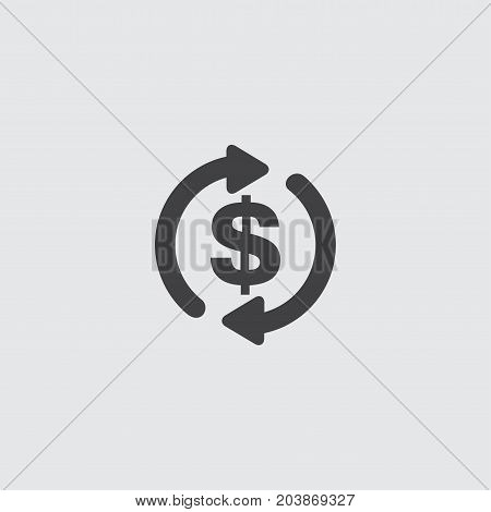 Dollar with arrows icon in a flat design in black color. Vector illustration eps10