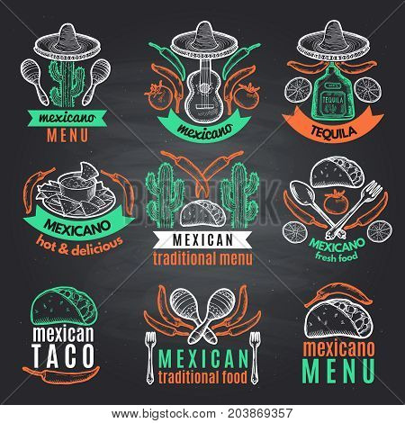 Colored labels of mexican symbols on black chalkboard. Vector emblems with place for your text. Mexican restaurant label menu, traditional emblem mexican cuisine illustration