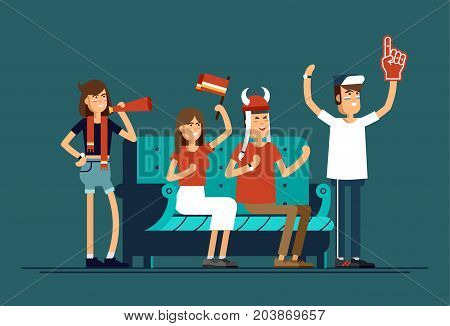 Vector flat illustration people character sport fans watching tv on cozy sofa. Woman and man with flags make up and accessories fans