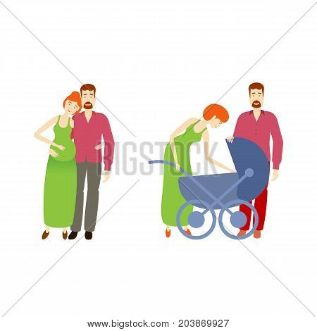 vector flat cartoon adult pregnant couple and another couple with infant baby in baby stroller. Isolated illustration on a white background. Flat family characters.