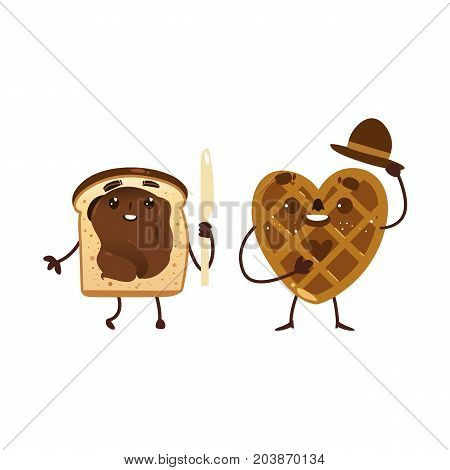 Funny heart shaped waffle, wafer and toast with chocolate spread, breakfast characters, cartoon vector illustration isolated on white background. Funny smiling waffle, wafer and toast with character