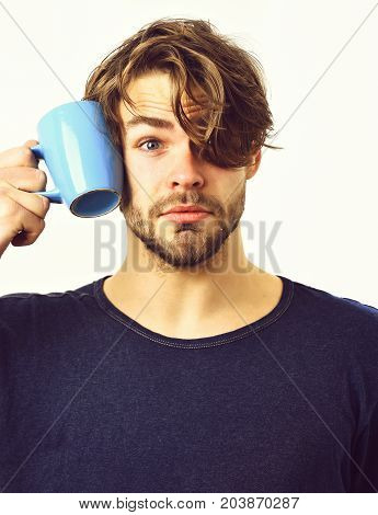 Bearded man short beard. Caucasian sexy young macho with stylish hair and moustache on surprisedface holding blue coffee cup or mug in blue shirt isolated on white studio background poster