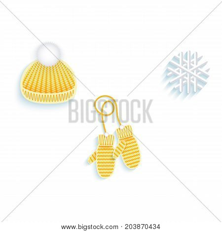 vector flat knitted winter cap with pompon, mitten gloves snowflake icon set. Isolated illustration on a white background. Winter sybols concept