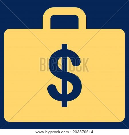 Business Case vector icon. Flat yellow symbol. Pictogram is isolated on a blue background. Designed for web and software interfaces.