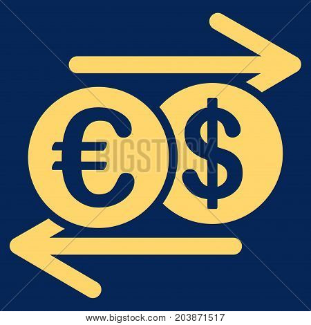 Dollar Euro Exchange vector icon. Flat yellow symbol. Pictogram is isolated on a blue background. Designed for web and software interfaces.