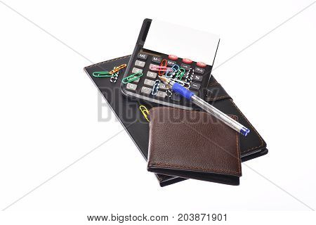 Business And Work Concept: Office Tools Isolated On White Background