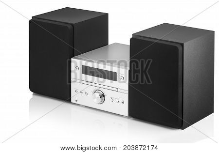 music center with two speakers on a white background