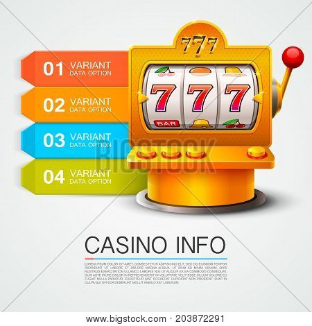 Golden info list slot machine wins the jackpot. Isolated on white background . Vector illustration