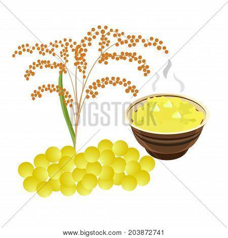 baby food. children's porridge. millet cereal. a bowl of cereal