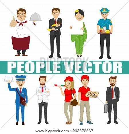 Young people vector with various characters like chef, businessman, courier, postman, policeman, pizza, doctor, kimono, delivery