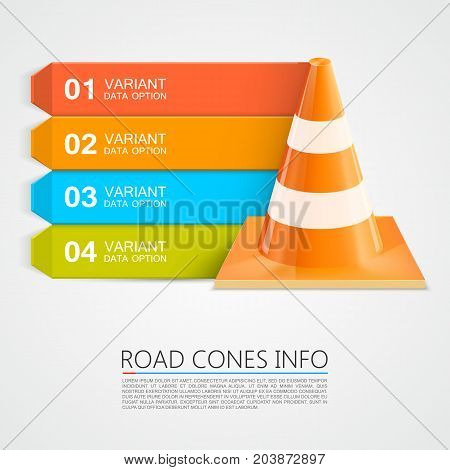 Road Cones info, Cones info numbers. Vector illustration