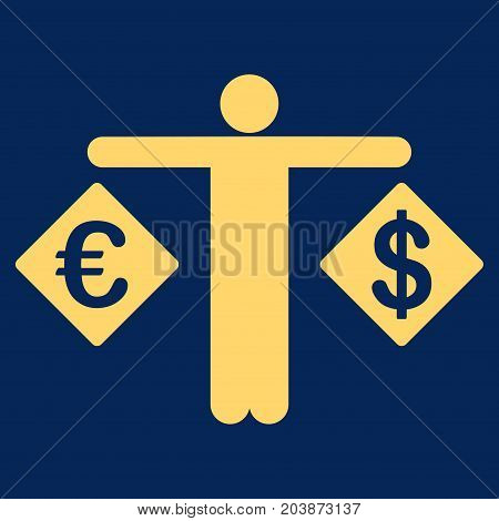Person Compare Dollar And Euro vector icon. Flat yellow symbol. Pictogram is isolated on a blue background. Designed for web and software interfaces.
