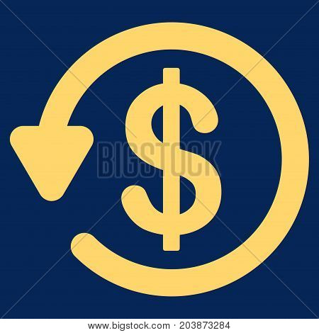 Refund vector icon. Flat yellow symbol. Pictogram is isolated on a blue background. Designed for web and software interfaces.