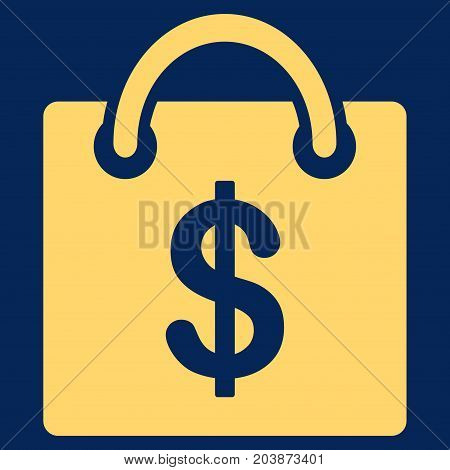 Shopping Bag vector icon. Flat yellow symbol. Pictogram is isolated on a blue background. Designed for web and software interfaces.