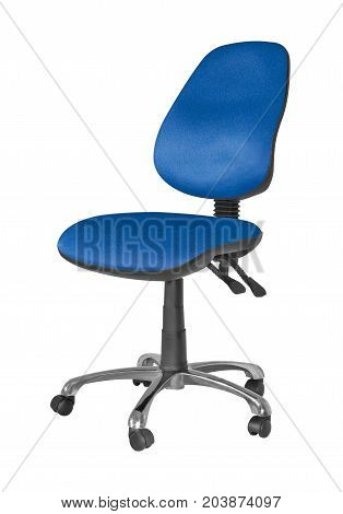 BLUE OFFICE, SWIVEL CHAIR,  WITH AN ISOLATED BACK GROUND