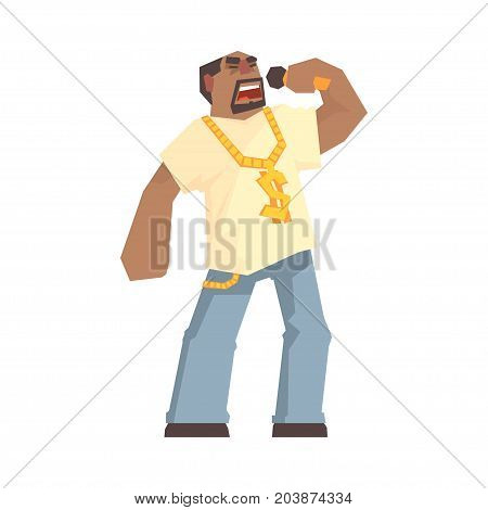 African male singer character holding a microphone, hip hop rapper cartoon vector Illustration on a white background