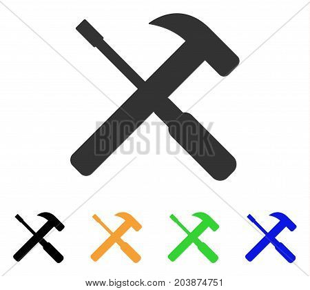 Hammer And Screwdriver Tools icon. Vector illustration style is a flat iconic hammer and screwdriver tools symbol with black, grey, green, blue, yellow color versions.
