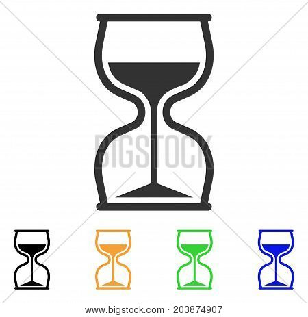 Hourglass icon. Vector illustration style is a flat iconic hourglass symbol with black, grey, green, blue, yellow color variants. Designed for web and software interfaces.