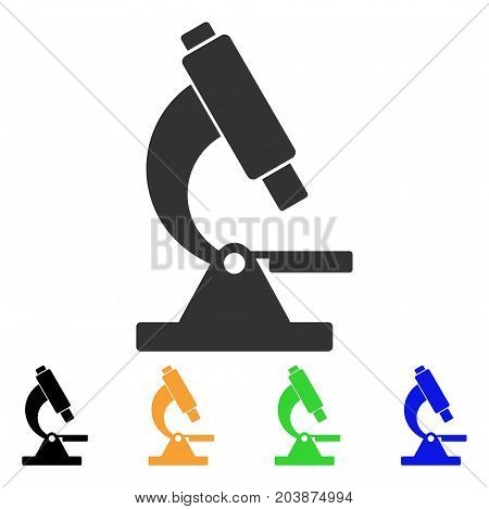 Microscope icon. Vector illustration style is a flat iconic microscope symbol with black, gray, green, blue, yellow color variants. Designed for web and software interfaces.