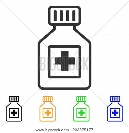 Pharmacy Vial icon. Vector illustration style is a flat iconic pharmacy vial symbol with black, grey, green, blue, yellow color variants. Designed for web and software interfaces.