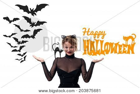 Beautiful woman with carnival cat ears on white background. Halloween concept