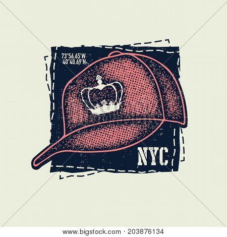 Baseball cap with crown on white background. Vector illudtration.