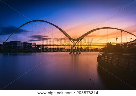 Infinity Bridge at sunset In Stockton-on-Tees UK