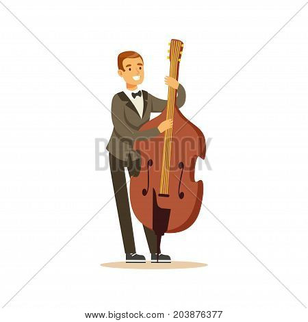 Cellist man playing classical music on cello, classical music performance vector Illustration on a white background