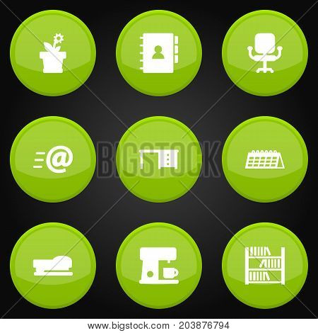 Collection Of Date, Desktop, Book And Other Elements.  Set Of 9 Office Icons Set.