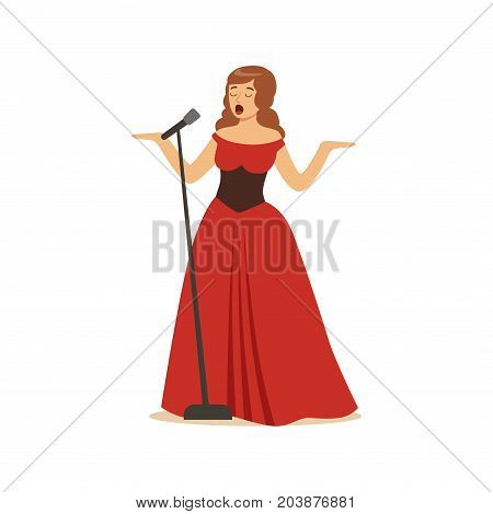 Beautiful woman opera singer in long red dress singing with microphone vector Illustration on a white background