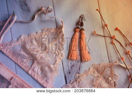 lingerie. women's lacy  underwear with a bust  on wooden white background soft focus.