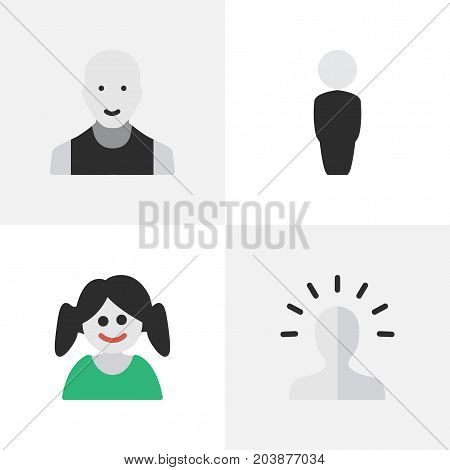 Elements Man, Person, Contour And Other Synonyms Boy, Female And Profile.  Vector Illustration Set Of Simple Profile Icons.