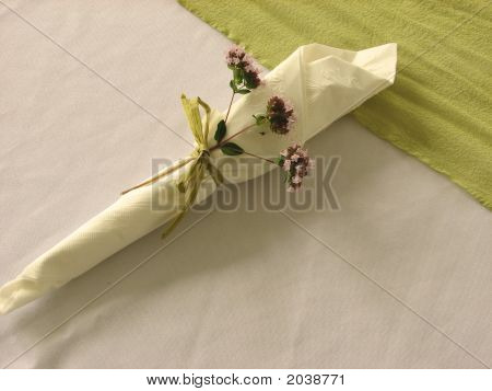 Place Setting With Pink Flowers