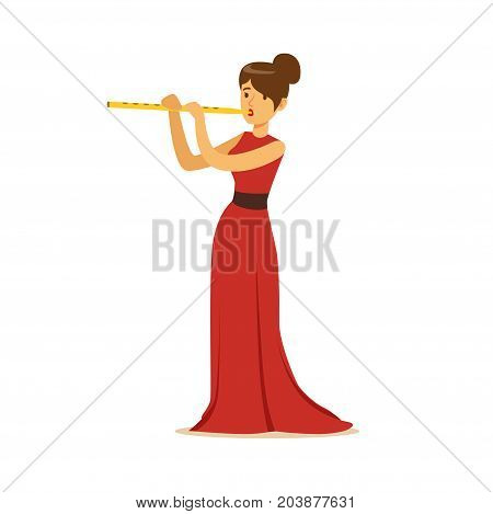 Elegantly dressed female musician playing flute, classical music performance vector Illustration on a white background