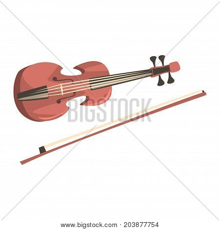 Wooden violin with fiddlestick, musical instrument cartoon vector Illustration on a white background