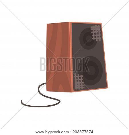 Wooden audio speaker, musical equipment cartoon vector Illustration on a white background