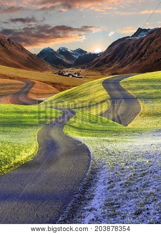 Intertwined Roads, Four Seasons Landscape