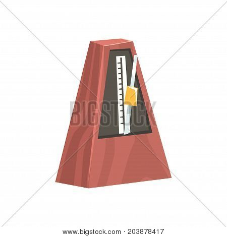 Classic metronome, musical equipment cartoon vector Illustration on a white background