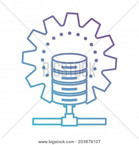 data base center in color gradient silhouette from purple to blue vector illustration