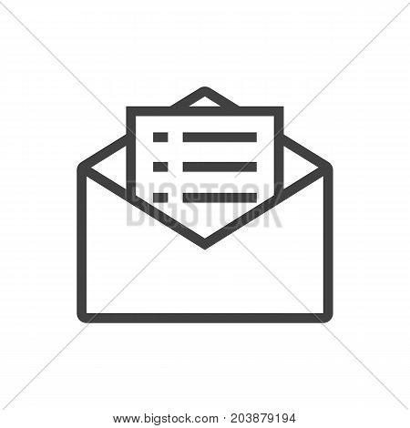 Vector Email Promotion Element In Trendy Style.  Isolated Message Outline Symbol On Clean Background.