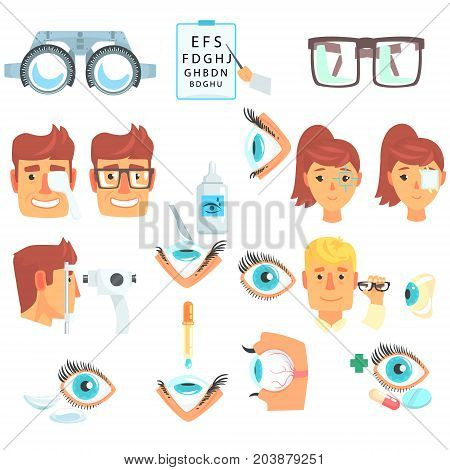Ophthalmologist diagnostic set, treatment and correction of vision cartoon vector Illustrations on a white background