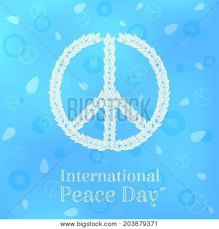 International Peace Day Greeting Card, Poster, Background. Vector Illustration of Peace Sign Made of Leaves on Blue Background.