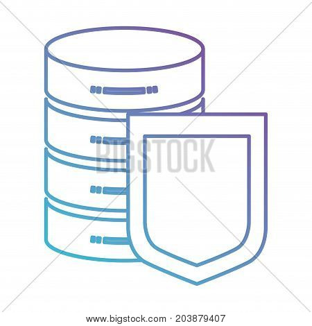 server hosting storage and protection shield icon in color gradient silhouette from purple to blue vector illustration